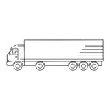 Line art transport icon, vector illustration - truck, waggon. Line transport icon, vector illustration - truck, waggon royalty free illustration