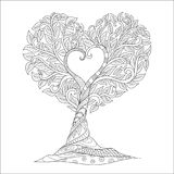 Line art of tree in heart shape for printed tee,engraving,coloring book page and other design element. Vector illustration Royalty Free Stock Photos