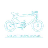 Line Art Trekking Bicycles Two Stock Photography