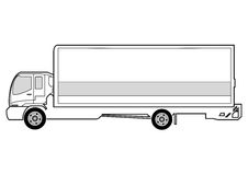 Line art - truck. Line art illustrration of side view of truck Royalty Free Stock Photography