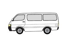 Line art - van. Line art illustration of the side view of a van Stock Images