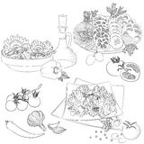 Line art various salads. Vector line art illustration with food. Set with various vegetable salads. Illustration for menu, cookbook or coloring book. Sketch Royalty Free Stock Photos