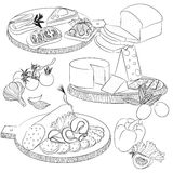 Line art various sandwiches and slicing. Vector line art illustration with food. Set with various sandwiches and cheese and sausage slicing. Illustration for Stock Photography