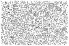 Line art vector cartoon set of Japan food objects Royalty Free Stock Photos