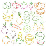 Line art vector graphical fancy food set of fruit and vegetable Royalty Free Stock Photo