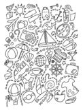 Line art doodle cartoon set of travel planning theme items, objects and symbols stock illustration
