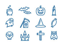 Line art vector icons set for Halloween. Elements collection for 31 october party. Candy, skull, bats, grave, owl, ghost, pumpkin, castle and cauldron vector Royalty Free Stock Photography