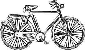 Line art vintage bicycle /eps Stock Image