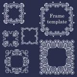 Line art vintage frames. Set of frames. Royalty Free Stock Images