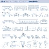 Line Vector Illustration Set. City vehicles royalty free illustration