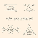 Line art water sports logos Stock Images