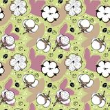 Abstract cotton flowers repeating pattern. Line art white Cotton flowers on pistachio background and violet leafs Royalty Free Stock Photos
