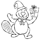 Line Art Xmas Beaver. An illustration of a simple cartoonish beaver dressed for Xmas holding a present. Line art (black and white illustrations) are perfect for Royalty Free Stock Photos