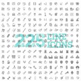 Line Arts Icons set. 225 linear icons. Outlined ARTS, ENTERTAINMENT and MASS MEDIA icon set Stock Photography