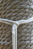 Line as a noose on the background of hemp rope. Stock Photography