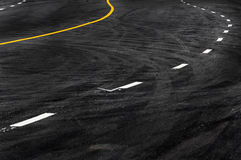 Line in the asphalt road. Copy space of road line texture abstract background Royalty Free Stock Photos