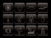 Line Astronautics and Space Icons Stock Images