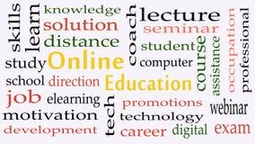 On-line-Ausbildungskonzeptwort-Wolkenhintergrund lizenzfreie abbildung