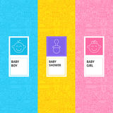 Line Baby Shower Patterns Set Royalty Free Stock Images