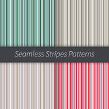 Line backgrounds set. Green red blue brown beige purple and white stripes vector. Seamless pattern illustration. Line backgrounds set. Stripes vector. Seamless Stock Image