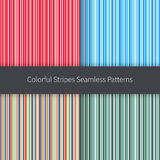 Line backgrounds set. Red pink orange blue green yellow and white stripes vector seamless pattern. Line backgrounds set. Colorful stripes vector seamless Royalty Free Stock Image