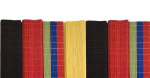 Line of bamboo mats. Bamboo mats, macro, top view Royalty Free Stock Photo
