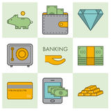 Line banking icon set. Vector linear sign Royalty Free Stock Photography