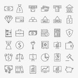 Line Banking Money and Finance Icons Big Set. Vector Set of 36 Line Art Modern Icons for Web and Mobile. Bank and Banking. Money and Finance Items. Business Royalty Free Stock Image