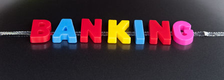 On-line Banking. Text ' banking ' in colorful uppercase letters placed on a silver ribbon with a darlk contrasting background Royalty Free Stock Photos