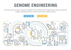 Linear Banner of Genome Engineering. stock illustration