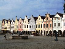 Line of baroque houses with arcade Royalty Free Stock Photo