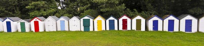A Line of Bathing Boxes, Devon, England. A Colorful Line of Bathing Boxes in Devon, England Stock Images
