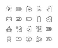 Line Battery Icons Royalty Free Stock Photos