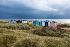 Line of Beach Huts Stock Photography