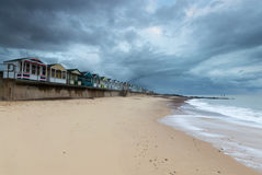 Line of Beach Huts at Southwold Pier of Beach Huts at Southwold Stock Photo