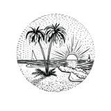 Line beach landscape with palms and sunset. Round emblem, card, tattoo or design element. Line beach landscape with palms and sunset. Black graphic island vector illustration