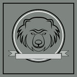 Line bear head emblem Royalty Free Stock Images