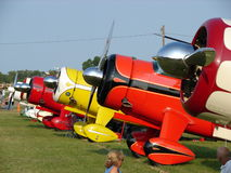 Line of beautiful antique Howard aircraft. Royalty Free Stock Photos