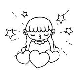 Line beauty girl child with hearts and stars. Vector illustration stock illustration