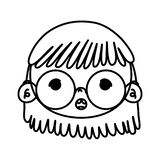 Line beauty girl head with glasses and hairstyle. Vector illustration royalty free illustration