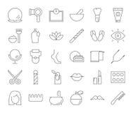 Beauty icons set. Line beauty icons set on white background stock illustration