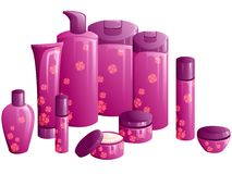 Line of beauty products, with a flower design. Set of 10 differently shaped containers for beauty products. Graphics are grouped and in several layers for easy Royalty Free Stock Photography