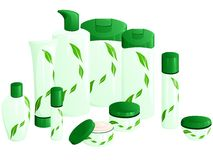 Line of beauty products, with a green leaf design. Set of 10 differently shaped containers for beauty products. Graphics are grouped and in several layers for Stock Photography