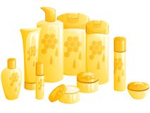 Line of beauty products, with a honeycomb design. Set of 10 differently shaped containers for beauty products. Graphics are grouped and in several layers for Royalty Free Stock Photography