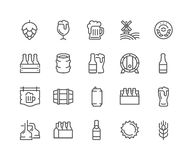 Line Beer Icons. Simple Set of Beer Related Vector Line Icons. Contains such Icons as Barrel, Six-pack, Keg, Signboard, Mug, and more. Editable Stroke. 48x48 royalty free illustration