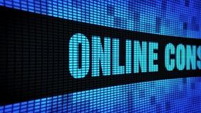 On-line-Beratungsseite simsen das In einer Liste verzeichnen des LED-Wand-Anzeigetafel-Zeichen-Brettes stock video footage