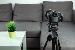 On-line-Beruf, Bloggerberuf, SLR-Kamera f?r das Schie?en von Vlog, Nahaufnahme Blogger, bloggend, Technologie, on-line-Geld, onli stockfotografie