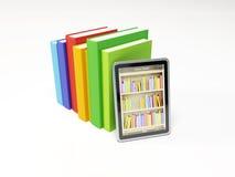 On-line-Bibliothek auf der Tablette Stockbild
