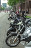 The line of bikes on the festival MoGO 35 Hamburg. The line of motocycles at the beginning of collection of bikers at MOGO 2018 10 June Hamburg Germany Royalty Free Stock Photos
