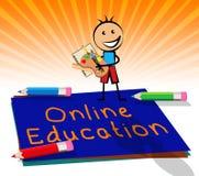 On-line-Bildung zeigt Illustration der Website-3d an Stockfotos